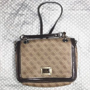 GUESS| Brand Brown Leather Adjustable Cross-Body